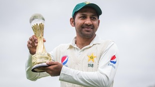 Pakistan's Sarfraz Ahmed with the trophy following Ireland's Test cricket debut