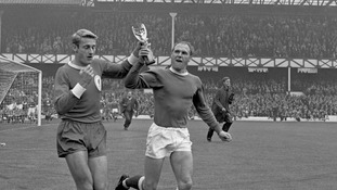 Ray Wilson (right) winning the World Cup with England in 1966