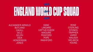 The full 23-man England Fifa World Cup squad.
