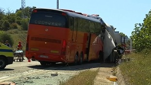 The collision crunched the front of the bus