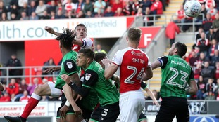 Rotherham United's Richard Wood (centre) scores his side's first goal of the game from a header