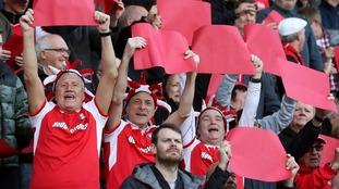 Fans celebrating at Rotherham