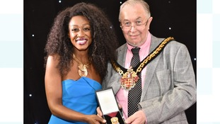 Beverley Knight receiving her award