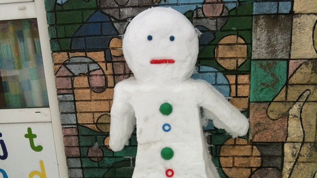 A snow gingerbread man