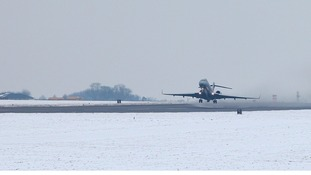 RAF Sentinel plane takes off from RAF Waddington