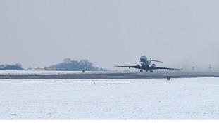 RAF Sentinel plane takes off from RAF Waddington