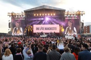 More than 50,000 people turned out at Manchester benefit concert.