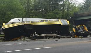 The wrecked school bus in New Jersey.