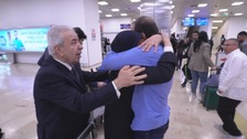 Humam Husari is reunited with his parents after five years apart.