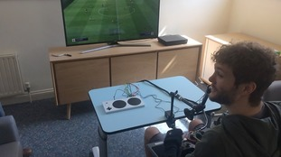 George Dowell plays FIFA with the Xbox Adaptive Controller.