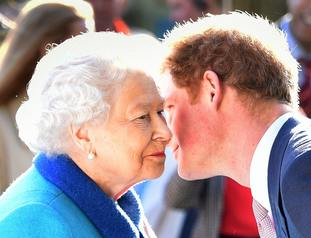The Queen, who has given Harry a title, greets her grandson at the Chelsea Flower Show