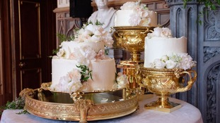 The wedding cake contains a type of sponge specially made for the couple.