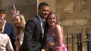 Girl, 12, caught up in Manchester terror attack attends royal wedding and gets a hug from David Beckham