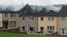 The fire broke out at a row of houses in Newtownabbey on Saturday