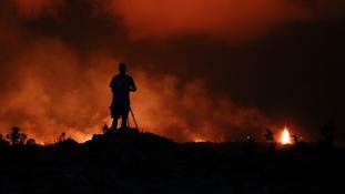 Peter Vance photographs lava erupting in the Leilani Estates subdivision near Pahoa, Hawaii.