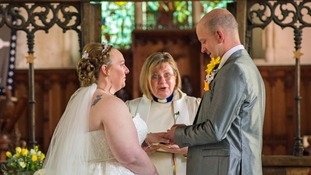 Lucy and Peter Clark get married at All Saints Church in Belton