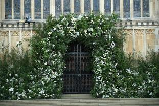 Flowers and foliage surrounded the West Door of St George's Chapel at Windsor Castle.