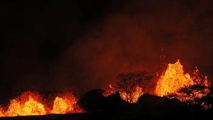Man's leg 'shattered' by lava spray from Hawaii volcano