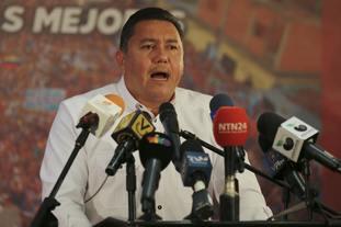 Javier Bertucci addresses supporters