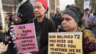 Protesters call for justice for the victims of the Grenfell Tower fire at a demonstration in May