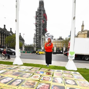 A protest outside Parliament over the Grenfell Tower inquiry panel