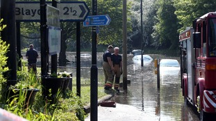Submerged cars at Newburn Bridge.
