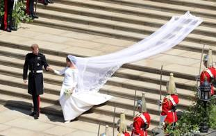 The Duchess of Sussex's veil train covers the steps at St George's Chapel.