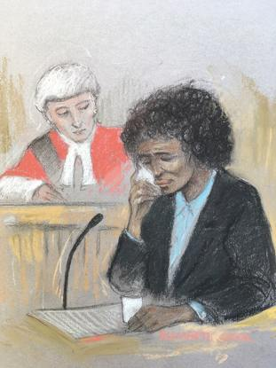 Court artist sketch of Berlinah Wallace giving evidence during her trial.