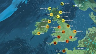 Dry, warm and sunny for many with some heavy, thundery showers