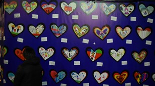 A wall commemorating victims of the Grenfell fire
