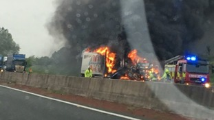 A1M lorry fire