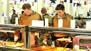 Prince Harry lining up at the self-service food section