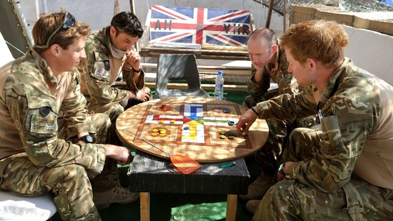 Prince Harry playing a game of Uckers in the VHR