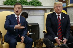President Donald Trump meets with South Korean President Moon Jae-In in the Oval Office.