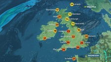 A warm and sunny day for most of the country