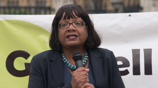 Labour MP Diane Abobtt speaks during a demonstration for the victims of the Grenfell Tower fir
