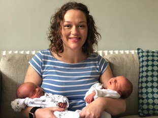 ITV Anglia Weather Presenter Aisling Creevey with her newborn twin boys.