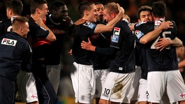 Luton Town's players celebrate their victory over Norwich City at the end of the match