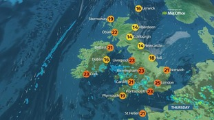 A cloudier day than yesterday, with outbreaks of heavy rain in some places