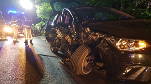 The stolen Seat Ibiza after the crash in Brighouse.