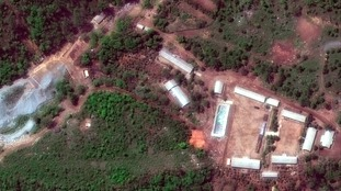 A satellite image of the Punggye-ri test site in North Korea.