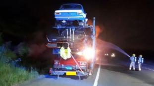 Car transporter fire