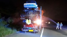 Car transporter fire