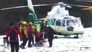 Swaledale MRT of emergency workers at the scene at the River Swale at Reeth, in the Yorkshire Dales.
