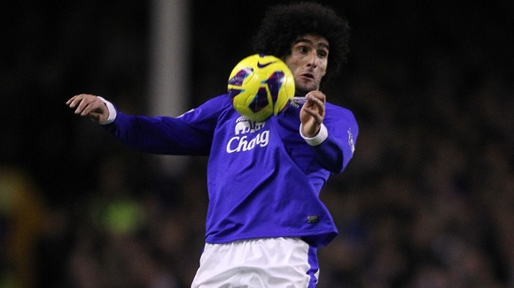 Everton star signing Marouane Fellaini in action.