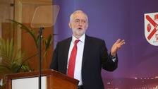 Labour leader Jeremy Corbyn speaking at Queen's University, Belfast