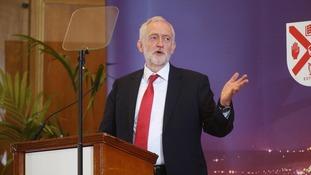 Labour leader Jeremy Corbyn speaking at Queen's University, Belfast.