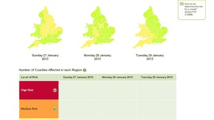 Environment Agency's three day flood risk forecast