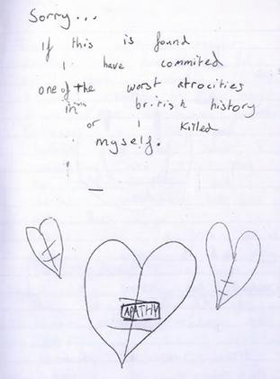 A page from a diary kept by the older boy in which he discussed his motivations for wanting to carry out a mass shooting