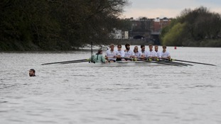 Man in the river in Boat Race